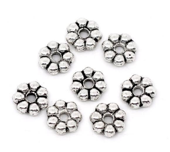 30 perle distanziatori rondelle forma fiore 6x2 mm argento antico scontato