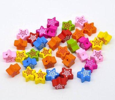 10 perle a forma di stella 15x15 colori misti a coppia