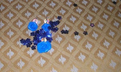 Parure fimo rose blu