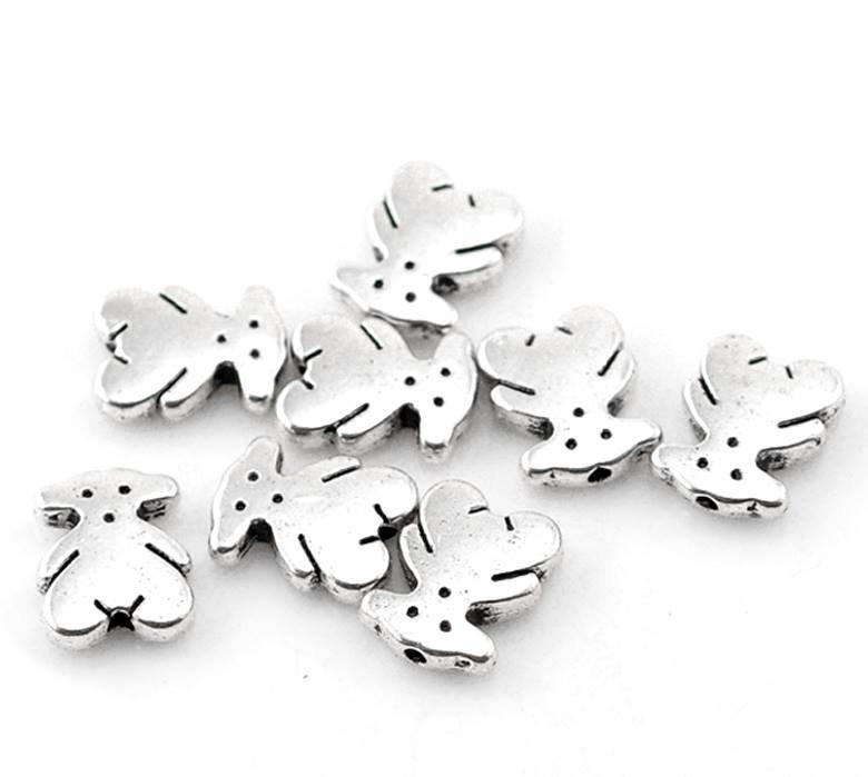 5 Perle FORMA Orso COLORE Argento antico 11x9mm scontato