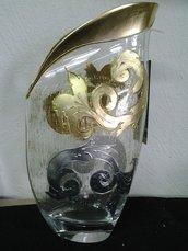 Vaso in cristallo argento oro