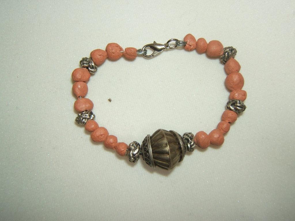 bracciale argento tibetano e terracotta, Tibetan silver bracelet vintage style