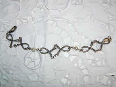 bracciale argento tibetano e perline, Tibetan silver bracelet vintage style