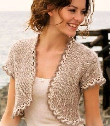 Bolero in BEIGE- WHITE- short sleeves and crochet borders with Luxury Silk-Mohair