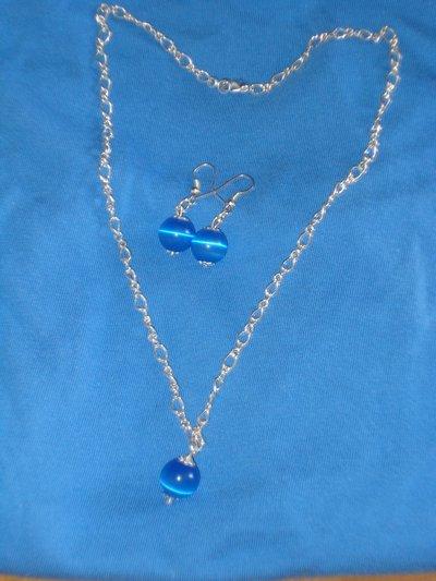 Collana e orecchini con catenella e perle occhio di gatto 10mm blu