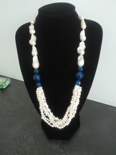 Collana perle barocche e agata blu