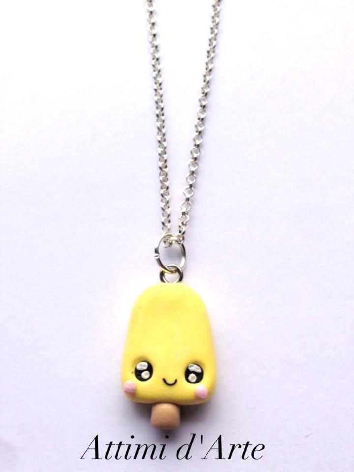collana ghiacciolo kawaii giallo pastello total handmade