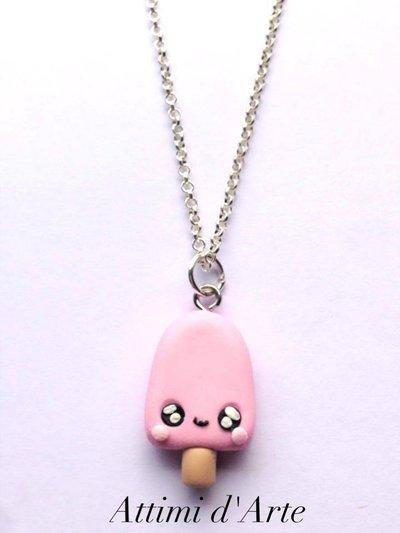 collana ghiacciolo kawaii rosa pastello total handmade