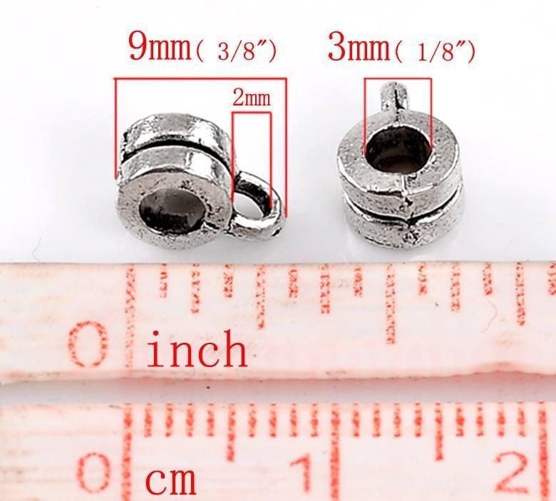 10 Ganci per Pendente Ciondoli Argento Antico 9x6mm foro 3 mm argento antico