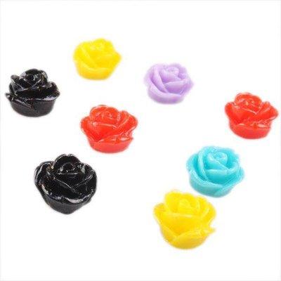 lotto 10 roselline senza foro in resina 10x10x8mm colori mix scontato