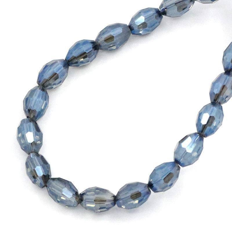 20 Perline Ovali in Vetro Cristallo Sfaccettate Azzurro 6x4mm FORO 0,5 MM  scontato