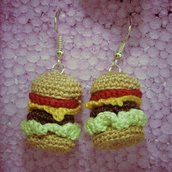 Orecchini hamburger amigurumi