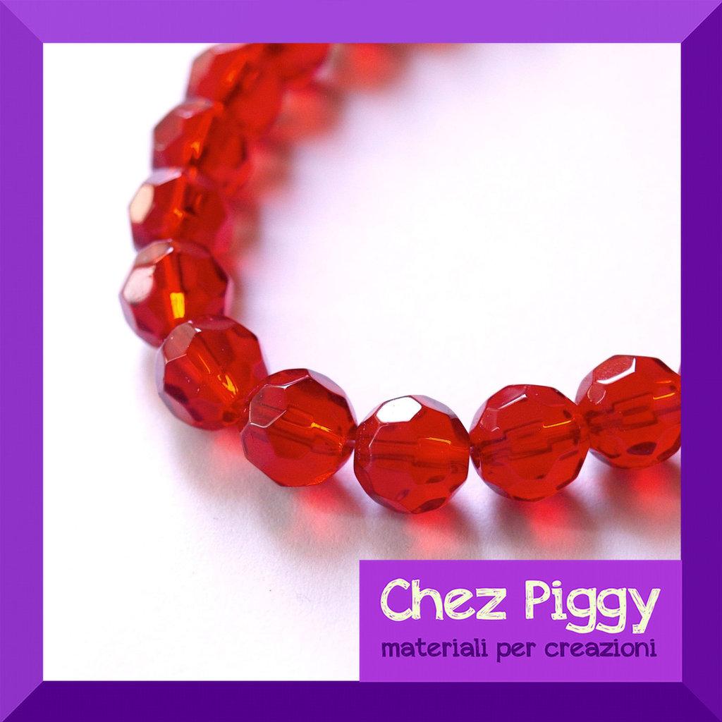 10 x perle di vetro sfaccettate - ROSSO
