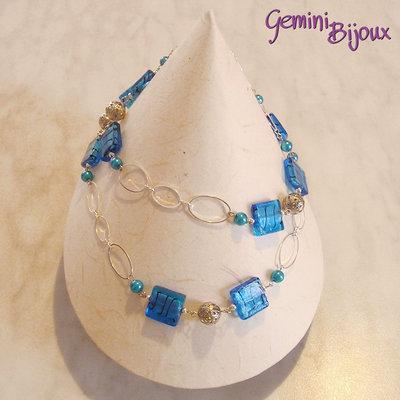 Collana quadri e perle azzurre