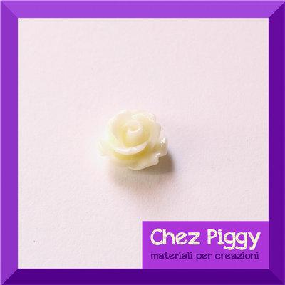 2 x cabochon roselline di resina - CREMA