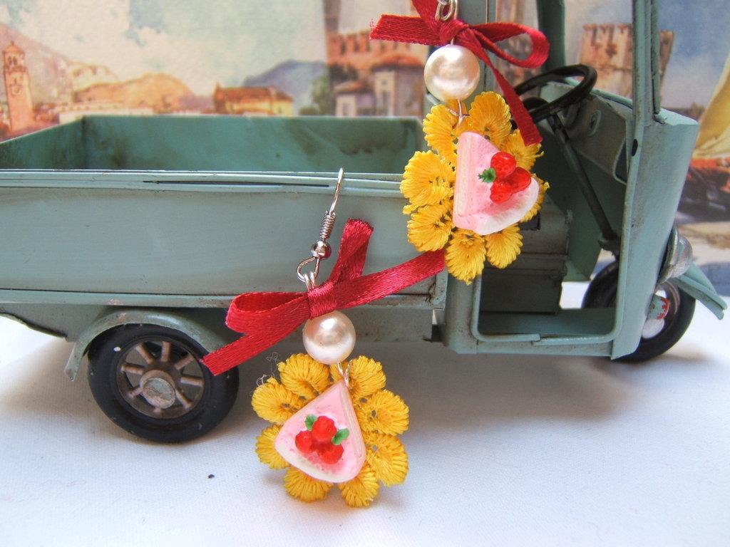orecchini kawaii cup cake macrame, Victorian style earrings shabby chic