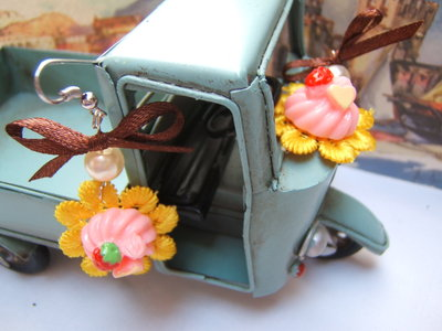 orecchini kawaii cup cake macrame, Victorian style earrings shabby chic