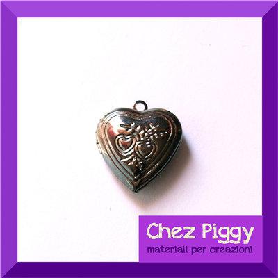 1 x Ciondolo apribile a forma di cuore - argento scuro