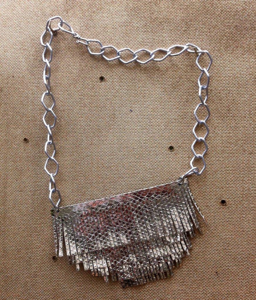 collana ecopelle argento