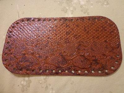 Fondi per borse ecopelle pitonata marrone scuro 28x15