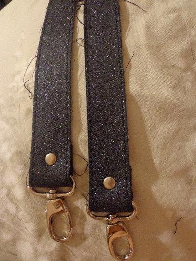 Manici tessuto jeans glitter con moschettone finale