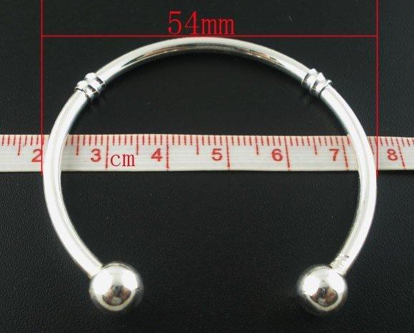Bracciale Rigido Argentato adatto Perle a Foro Largo Europeo 19cm scontato