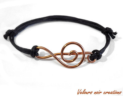 bracciale chiave di violino in rame wire cordino nero unisex