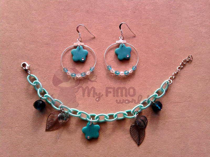Orecchini a cerchio pendenti e braccialetto con fiori e perle fimo