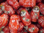 6 Perline Matrioska Rosso
