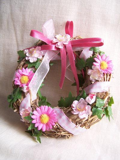 Coroncina paglia fiori rosa