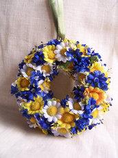 Coroncina fiori blu e gialli