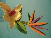 Mazzolino orchidea e sterlitzia in fantasy flower