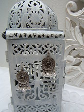 orecchini argento tibetano, Tibetan silver earrings vintage style