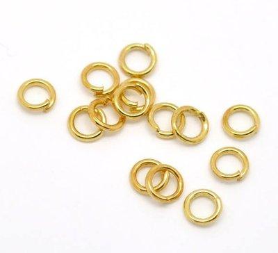 50 anelli ,anellini apribili dorati circa 5 mm metalo