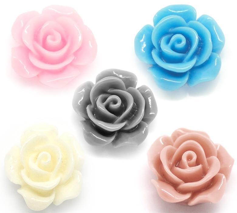 5 rose in resina 14x6 mm colori mix base piatta senza foro  sc