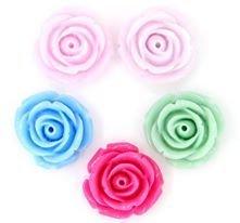 5 fiori rose in resina a base piatta misura circa 2 cm colori mix