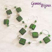 Collana lunga quadri verdi, perle di giada e filigrana