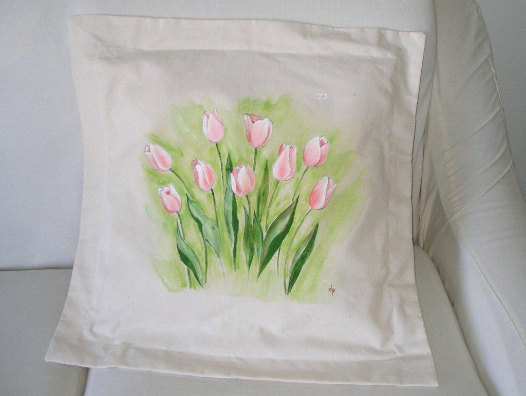 Cuscini dipinti - Tulipani Rose Orchidee Calle