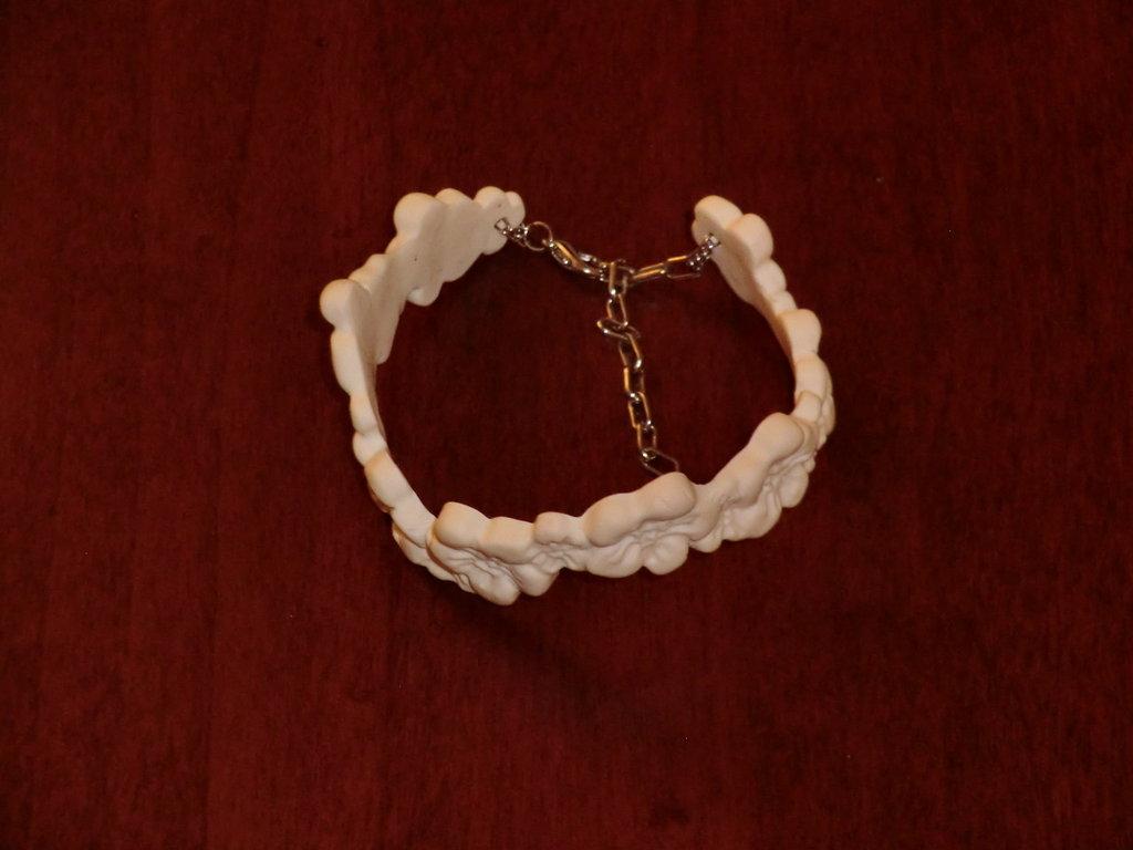 """braccialetto """"fiori"""" - fimo bianco"""