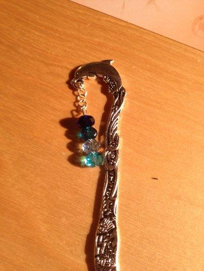 Segnalibro in argento con mezzi cristalli