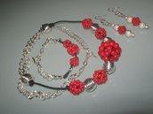 art 951 collana con more di corallo rosso naturale e argento tibetano anallergico