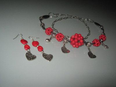 art 172 collana con more di corallo rosso naturale con orecchini