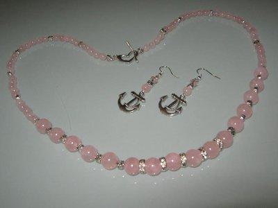 art 441 quarzo rosa con orecchini