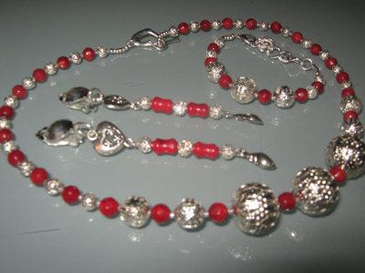 art 036 collana in corallo rosso naturale con orecchini