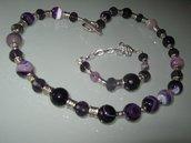 art 161 collana in agata sfaccettata naturale colore viola sfumata  e bracciale