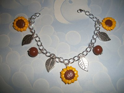 bracciale girasoli con charms