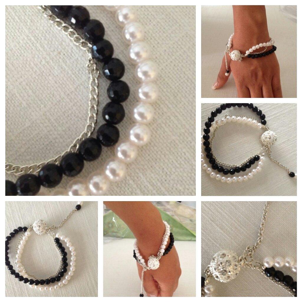 bracciale con pietre dure e perle