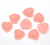 cabochon Cuore in Resina 16x16mm rosa