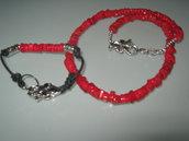 art 160 collana in corallo di mare rosso con bracciale e argento tibetano