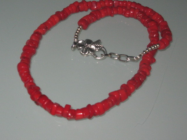 art 160 collana in corallo rosso di mare naturale con argento tibetano anallergico